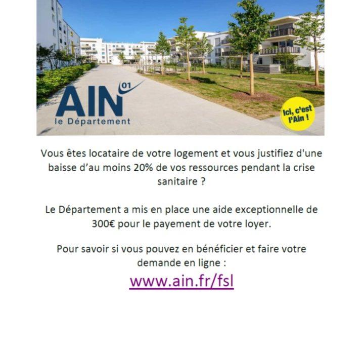Aide exceptionnelle du Département de l'Ain pour le paiement du loyer